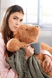 Portrait of morning cuddle with teddy bear Stock Photo