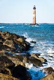 Portrait of Morris Island Lighthouse in South Carolina. Photograph of the Morris Island Lighthouse in Charleston , North Carolina stock images