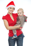 Portrait of mother and baby celebrating Christmas Royalty Free Stock Image