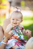 Portrait of mother with baby in summer green park. Outdoors. Stock Images