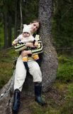 Portrait of Mother and Baby in the wild forest. Royalty Free Stock Image