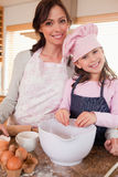Portrait of a mother baking with her daughter Royalty Free Stock Image