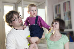 Portrait of mother, blond father,  blond  baby Stock Photography