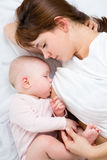 Portrait of mother breast feeding her baby Stock Image