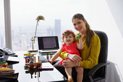 Portrait Mother Business Woman Playing Child At Work Stock Photography