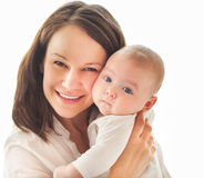 Portrait of mother and child laughing and playing Stock Image