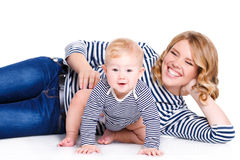 Portrait of a mother and child on a white Royalty Free Stock Photo
