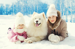 Portrait mother and child with white Samoyed dog together lying on snow in winter Royalty Free Stock Photo