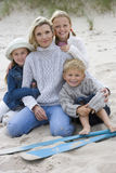 Portrait of mother and children on beach Royalty Free Stock Image