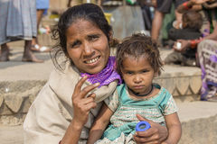 Portrait mother and children on the street in Varanasi, India Royalty Free Stock Photos