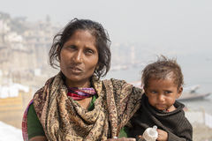 Portrait mother and children on the street in Varanasi, India Royalty Free Stock Photo