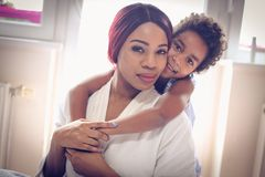 Portrait of mother and daughter. royalty free stock photos