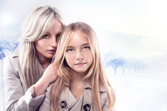 Portrait of mother with daughter Stock Images