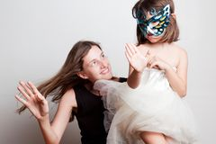 Portrait of a mother and daughter royalty free stock photography