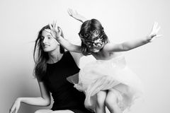 Portrait of a mother and daughter. Family portrait royalty free stock photo