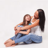 Portrait of a mother and daughter, family hug Stock Photo