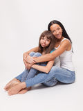 Portrait of a mother and daughter, family hug Stock Photography