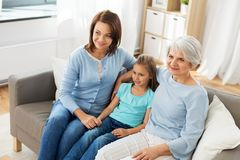 Portrait of mother, daughter and grandmother stock image
