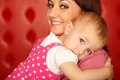 Portrait of mother and daughter hugging each other Royalty Free Stock Photography