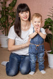 Portrait of mother and daughter. Mom plays with her daughter Royalty Free Stock Photography