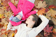 Portrait of mother and daughter. In nature Royalty Free Stock Photo