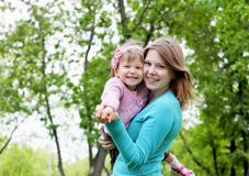 Portrait of mother with daughter outdoor Stock Photography