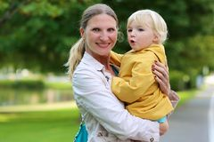 Portrait of mother and daughter outdoors Stock Image