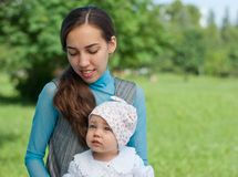 Portrait of a mother and daughter in park Royalty Free Stock Photo