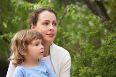 Portrait of mother with daughter in summer Stock Images
