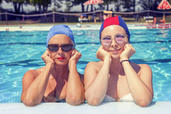 Portrait of mother and daughter in swimsuit Royalty Free Stock Photo
