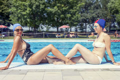 Portrait of mother and daughter in swimsuit Stock Image