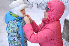 Portrait of a mother and daughter in winter Stock Photos