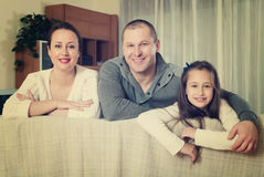 Portrait of mother, father and cute  daughter Stock Photo