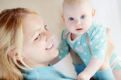 Portrait of a mother with her baby Royalty Free Stock Images