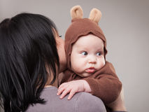 Portrait of mother with her baby boy. Portrait of mother with his baby boy  bear Royalty Free Stock Photography