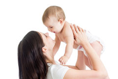 Portrait of mother and her child on white background Stock Photos