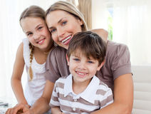 Portrait of a mother with her children Stock Images