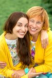Portrait of mother with her daughter in the park Royalty Free Stock Image