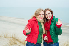 Portrait of mother with her daughter at the sea Stock Image