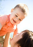 Portrait of a mother with her son Stock Photos