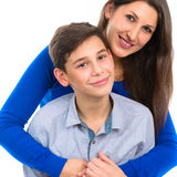 Portrait of a mother with her son Stock Images
