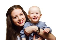 Portrait of mother holding child. Stock Photography