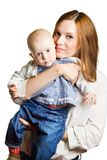 Portrait of mother holding child. Stock Photos