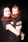 Portrait of a mother and a little boy punks rock Royalty Free Stock Photography