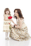 Portrait of mother and little daughter Stock Photos