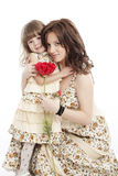 Portrait of mother and little daughter Stock Photo