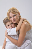 Portrait of  mother and son. Portrait of happy mother and son Stock Images