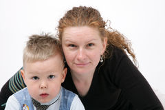 Portrait of mother and son - happy together - isol Stock Photo