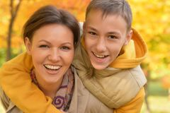 Mother and son having fun. Portrait of mother and son having fun outdoors Royalty Free Stock Photography
