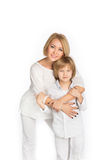 Portrait of the mother and son. Isolated on white Stock Image